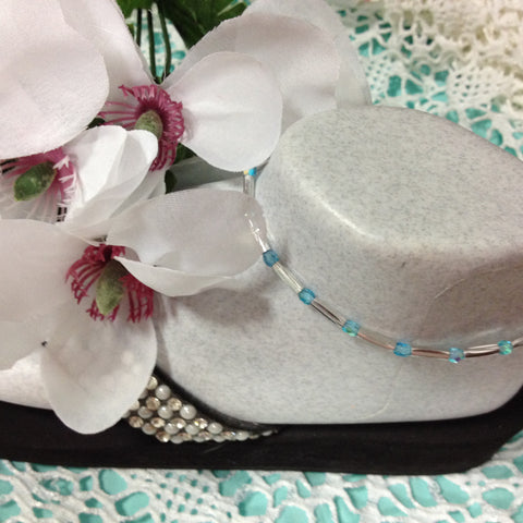 Aquamarine Stretch Ankle Bracelet - March Birthstone - Petite to Plus Sizes