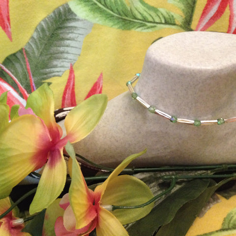 Peridot Stretch Ankle Bracelet - August Birthstone - Petite to Plus Sizes
