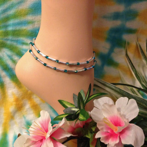 Teal Stretch Ankle Bracelet - Set of 2 - Petite to Plus Sizes
