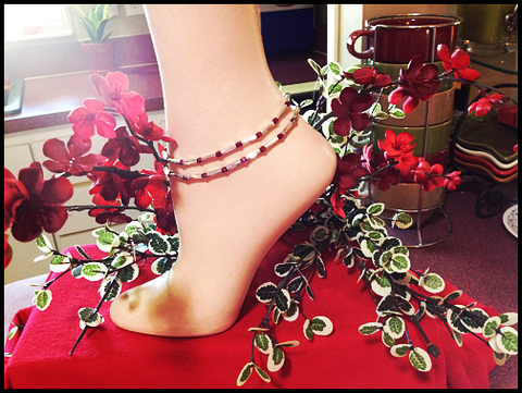 Garnet Stretch Ankle Bracelet - January Birthstone - Set of 2 - Petite to Plus Sizes