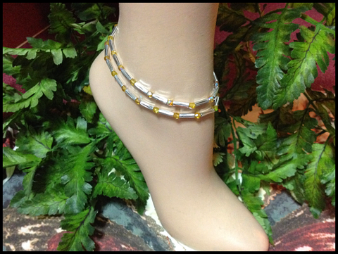 Topaz Stretch Ankle Bracelet - November Birthstone - Set of 2 - Petite to Plus Sizes