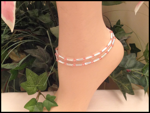 Pink Tourmaline Stretch Ankle Bracelet - October Birthstone - Set of 2 - Petite to Plus Sizes