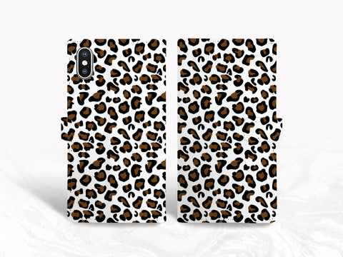 Leopard Pattern PU Leather Wallet Cover Flip case for iPhone XS Max, iPhone 11, Samsung S20, S10e, Google Pixel 3a XL, Pixel 5, OnePlus 6, Nexus 5X