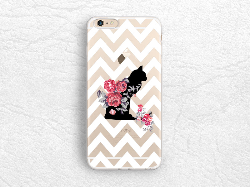 big sale 387f3 3e71b Cute Cat Floral transparent case, White Chevron clear cover for ...