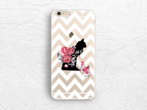 Cute Cat Floral transparent case, White Chevron clear cover for iPhone 6s, Samsung S8 Plus, LG G6, Nexus 5X, Sony z5 compact, Nexus 6P -A4
