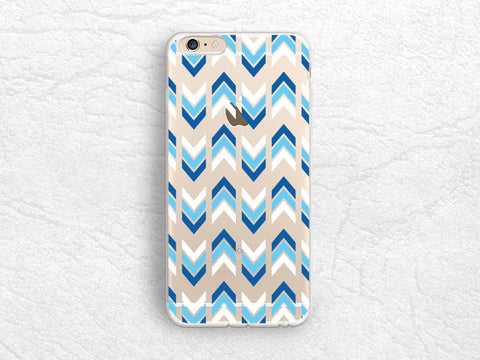 Blue Arrows Chevron transparent case for iPhone 7, LG G6, Nexus 5X, Samsung S5, S6, S7 Edge, S8 Plus, Sony Z5 compact, Google Pixel XL -A26