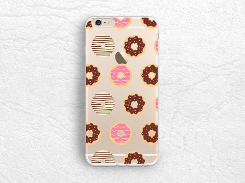 Cute Donuts transparent phone case for iPhone 6s, iPhone 7, Nexus 5X, Samsung S8, Note 5, HTC One M9, Nexus 6P, Sony Z5, Google Pixel -A31