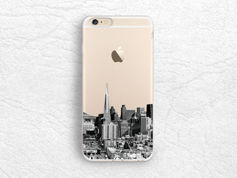 San Francisco City View iPhone 7 transparent case, Skyline photo phone case for LG G5, Nexus 5x, Google Pixel XL, Nexus 6P, Samsung S8 -A35