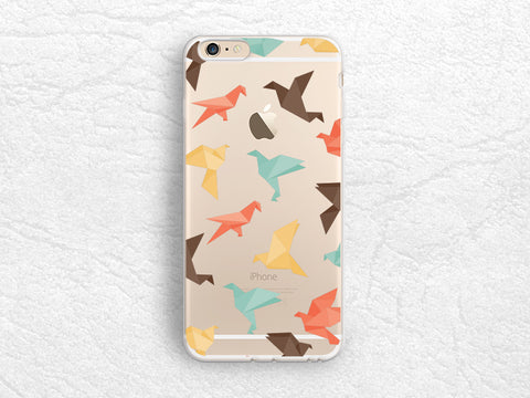 Origami Animals, Colorful Paper Crane transparent case for iPhone 7, Nexus 6P, Nexus 5X, Google Pixel, Samsung S8, Sony Z5, HTC One M9 -A40