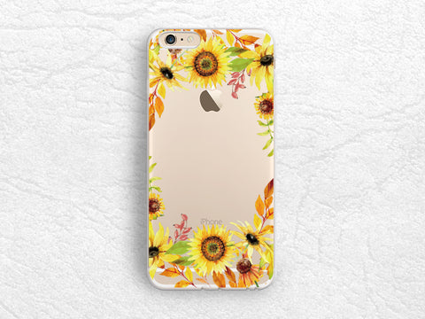 Sunflowers floral pattern Transparent case for iPhone X, iPhone 8, Samsung S8 Plus, LG G6, Nexus 5x, Nexus 6P, Google Pixel 2 XL -A47