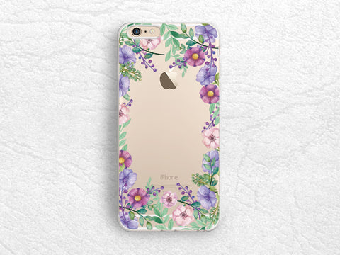 Purple Lilac Floral flowers transparent case for iPhone 7 Plus, iPhone X, Samsung S8, Huawei P8 Lite, LG G6, Nexus 5X, Google Pixel 2 XL -A48