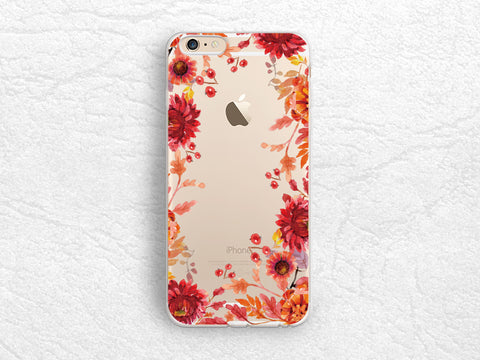 Red Floral flowers transparent case for iPhone X, iPhone 7 Plus, Samsung S8 Plus, Note 8, Nexus 6P, LG Nexus 5X, HTC One M9, Google Pixel 2 XL -A49