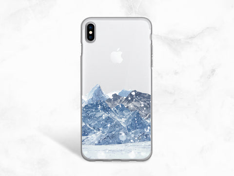Winter Snow Mountain Clear transparent phone case for iPhone X, iPhone 8, Google Pixel 2, Samsung S8 Plus, LG G6, Nexus 5X, Nexus 6P -A86