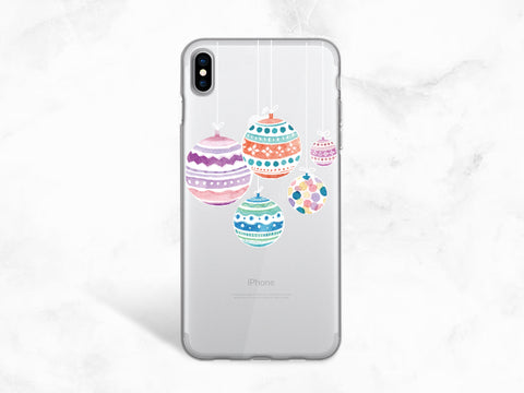 Christmas Ornament Clear transparent phone case for iPhone X, iPhone 8, Google Pixel 2, Samsung S8, Note 8, Nexus 5X, XMAS Holiday case -A84