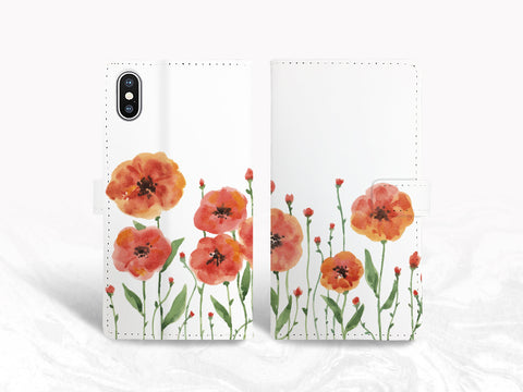 Watercolor Flowers Garden PU Leather Wallet Cover Flip Case for iPhone 11 Pro, iPhone XR, Samsung S10, note 20 Ultra, Google pixel 4 XL, Pixel 4a, OnePlus 6