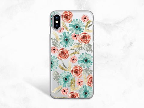Colorful Floral Flowers Clear transparent case for iPhone X, iPhone 8, Google Pixel 2 XL, Nexus 5x, Nexus 6P, Sony z5, Samsung S8 Plus -A89