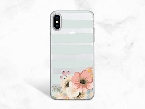 Striped Floral flowers Clear transparent case for iPhone X, iPhone 8, Samsung S8, Nexus 6P, LG G6, Nexus 5X, Google Pixel XL, Pixel 2 -A90
