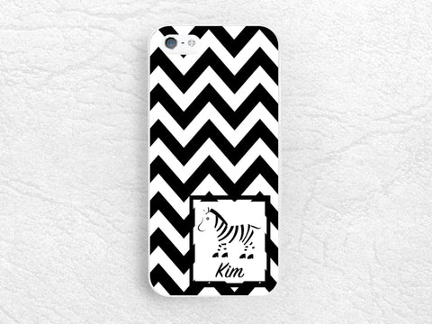Cute Zebra Chevron Monogram Phone Case for iPhone X, Google Pixel, Sony z5 compact, HTC One M9, LG G5, Nexus 5x, Nexus 6P, Samsung S8 -C30