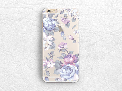 Purple Floral flowers pattern transparent phone case for iPhone X, iPhone 8, Samsung S8, Google Pixel 2, LG G6, Nexus 5X, Nexus 6P, Sony Xperia XZ