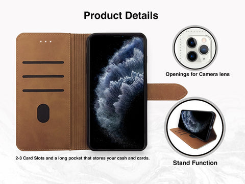 Melting Icecream PU Leather Wallet Cover Flip Case for iPhone 11 Pro, iPhone XS Max, Samsung S20 plus, Google Pixel 4a, Pixel 3a XL, OnePlus 6, Nexus 5X
