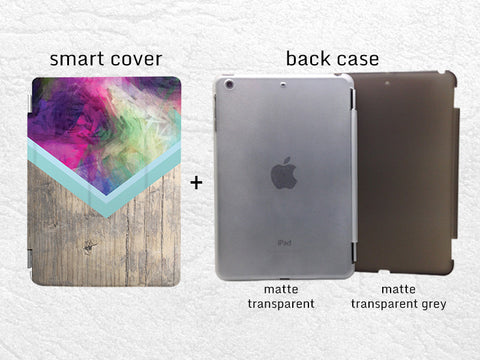 Abstract colorful wood print Smart Cover for iPad Air, iPad Air 2, Smart cover with back case -G22