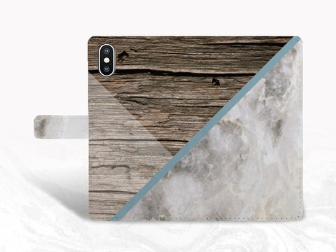 Brown Wood Gray Marble Print PU Leather Wallet Cover Flip Case for iPhone 11 Pro Max, iPhone XR, Samsung S20, Note 9, Google Pixel 4a, OnePlus 6