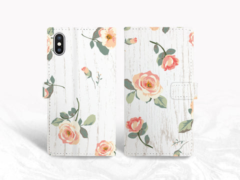 Floral Pattern Wood print PU Leather Wallet Cover Flip case for iPhone 11, iPhone XR, Samsung S10, Note 20, Google Pixel 4a, LG V50, LG G8