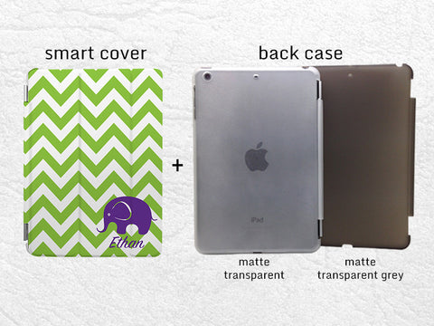 iPad custom Smart Cover, colorful Chervon Monogram Initial Elephant case for iPad Air, iPad Air 2, personalized case