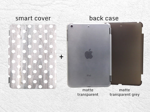 White Polka Dots pattern grey wood print Smart Cover for iPad Mini, iPad mini 2 retina, iPad mini 3, Smart cover with back case -G6