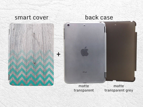 Green Chevron Geometric wood print Smart Cover for iPad Mini, iPad mini 2 retina, iPad Mini 3, zigzag Smart cover w/ back case -G19