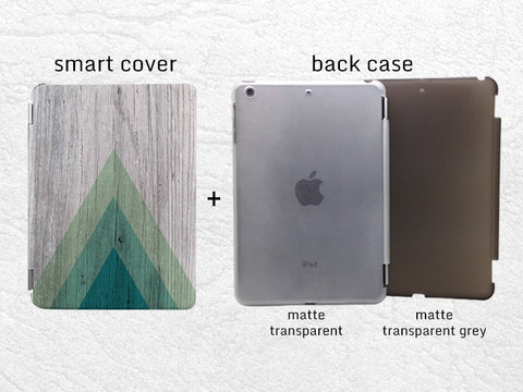 Geometric wood print Smart Cover for iPad Mini, iPad mini 2 retina, iPad Mini 3, green triangle tablet Smart cover with back case