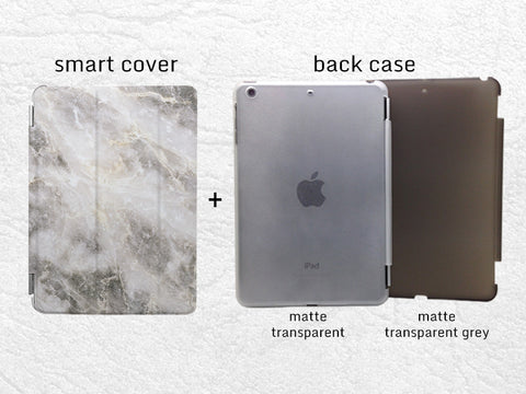 Gray Marble print stylish Smart Cover for iPad Mini, iPad mini 2 retina, iPad Mini 3, unique iPad Smart cover with back case -X1