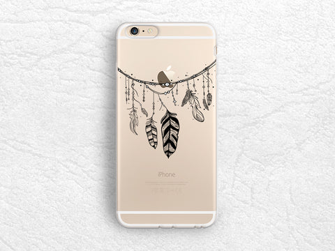Aztec style Feather transparent phone case for iPhone 7, Google Pixel, Samsung S8 Plus, Note 5, LG G6, Nexus 5X, Nexus 6P, HTC One M9 -A60