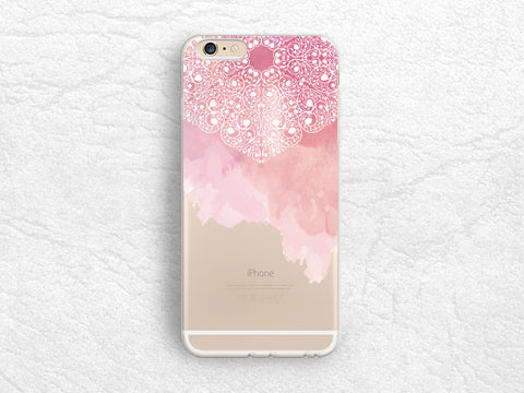 Pink Watercolor Mandala Floral pattern transparent phone case for iPhone 7, LG G5, Nexus 5X, Nexus 6, Sony Xperia XZ, Samsung S7 edge -A56