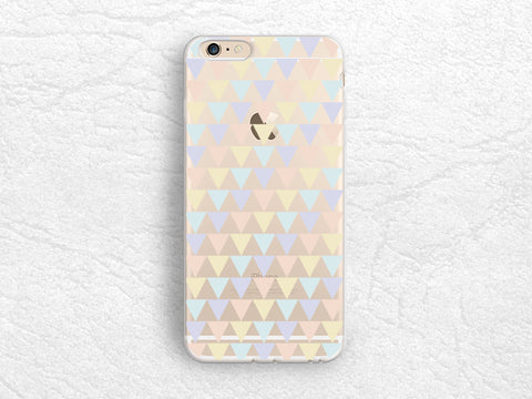 Pastel Color Triangles transparent phone case for iPhone 7, Samsung S8 Plus, Sony Z5 compact, Nexus 6P, LG G5, Nexus 5X, Google Pixel -P100