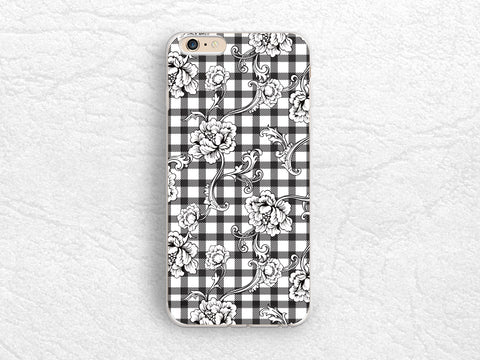 Black and White Checkered Floral flower phone case for iPhone X, iPhone 8, Google Pixel, LG G5, Nexus 5X, Samsung S7, S8 Plus, Nexus 6P -P101