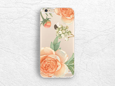 Orange Floral flowers Clear Transparent phone case for iPhone X, iPhone 8, Google Pixel 2 XL, Samsung S8 Plus, LG G6, Nexus 5X, Nexus 6P -P99