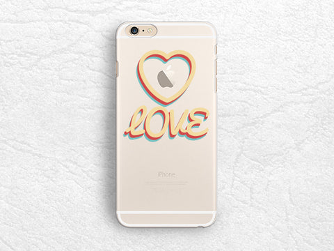 LOVE clear transparent phone case for iPhone 7, iPhone 6s, Google Pixel, Samsung S8 Plus, LG G6, G5, Nexus 5X, Nexus 6P, HTC One M9 -P103