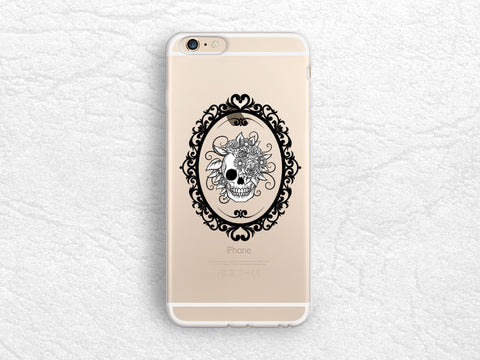 Halloween Skull transparent phone case for iPhone 8, iPhone X, LG G6, Nexus 5X, Samsung S8 Plus, Note 8, Google Pixel 2, Sony Xperia XZ -P108