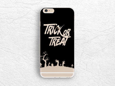Halloween Trick or Treat transparent phone case for iPhone 8, iPhone X, LG G6, Nexus 5X, Samsung S8, Note 8, Google Pixel, Nexus 6P -P109