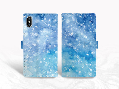 Blue Watercolor Snowflakes PU Leather Wallet Cover Flip Case for iPhone 11, iPhone 8, Samsung S9, Note 10, Note 20, Google Pixel 3a XL, LG G7, LG V50, Nexus 5X