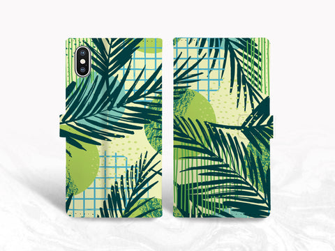 Tropical Style PU Leather Wallet Cover Flip Case for iPhone X, iPhone 11, Samsung S20, Note 10 Plus, Google Pixel 4, Pixel 5 XL, LG G8, Nexus 5X, OnePlus 6