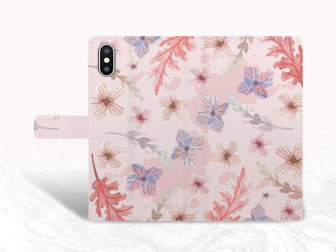 Pink Purple Floral PU Leather Wallet Cover Flip Case for iPhone 11, iPhone XS Max, Samsung S10 Plus, Note 20, Note 10, Google Pixel 4, LG G8, LG V30, OnePlus 6