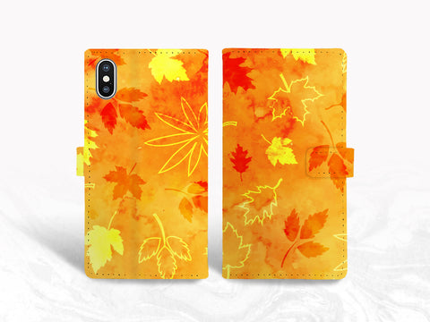 Fall Autumn Leaves PU Leather Wallet Cover Flip Case for iPhone XS Max, iPhone 11, Samsung S10e, Note 20 Ultra, Google Pixel 4, LG G8, Nexus 5X