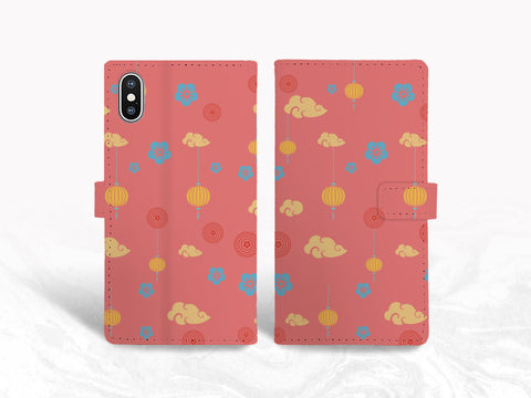 Chinese pattern PU Leather Wallet Cover Flip Case for iPhone 11 Pro Max, iPhone XS, Samsung S9 plus, Note 20 Ultra, Note 10, Google Pixel 3 XL, Pixel 5, OnePlus 6