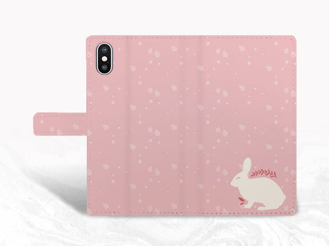 Cute Bunny Rabbit Pink PU Leather Wallet Cover Flip Case for iPhone 11, iPhone XS Max, Samsung S10 Plus, S20 Ultra, Google Pixel 4, Pixel 3a, LG G8, OnePlus 6