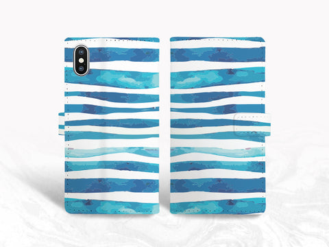 Blue Stripes Paint Pattern PU Leather Wallet Cover Flip Case for iPhone XR, iPhone 11, Samsung S10 Plus, Note 9, Note 20, Google Pixel 3, Pixel 4a, LG G7