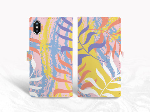 Colorful Tropical PU Leather Wallet Cover Flip Case for iPhone 11, iPhone 8, Samsung S20 Plus, S10e, Note 20, Google Pixel 3a, Pixel 4 XL, LG G8, OnePlus 6