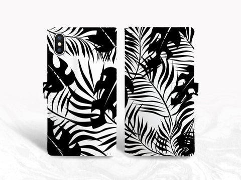 Black & White Tropical Palm Leaf PU Leather Wallet Cover Flip Case for iPhone XR, iPhone 11, Samsung Note 20, S10 Plus, Google Pixel 3, Pixel 4a, LG G7, LG V30, OnePlus 6