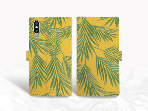 Tropical Leaves PU Leather Wallet Cover Flip Case for iPhone XR, iPhone 11, Samsung s9 plus, S10e, Note 20, Google Pixel 4a, LG v40, LG G7, OnePlus 6